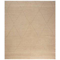 21st Century Deux Diamond Beige and Brown Handmade Wool Rug