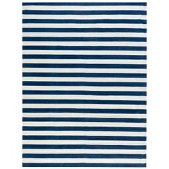 21st Century Dhurrie Design Rug in Blue and White Stripes