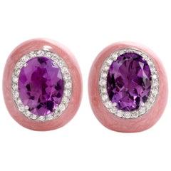 21st Century Diamond Amethyst Enamel 18 Karat Gold Clip-On Earrings