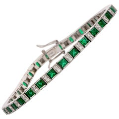 21st Century Diamond Emerald Platinum Tennis Bracelet