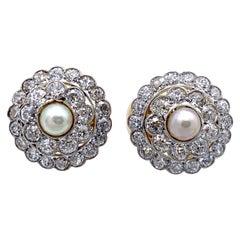 21st Century Diamond Pearl Platinum 14 Karat Yellow Gold Clip-On Earrings