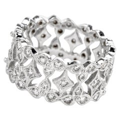 21st Century Diamond Platinum Eternity Wide Band Ring