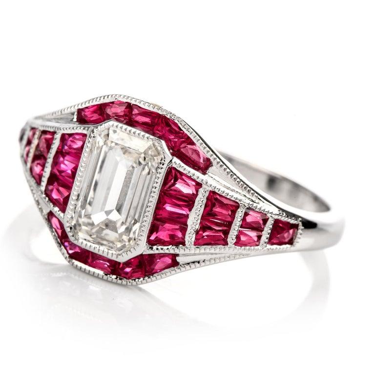 Ruby Engagement Rings For Sale: 21st Century Diamond Ruby 18 Karat White Gold Engagement