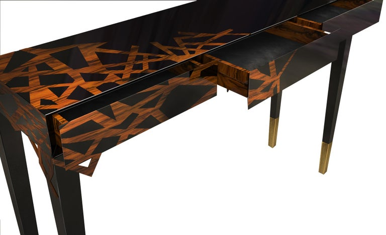 Brushed 21st Century Dinasty Console Lacquered Wood For Sale