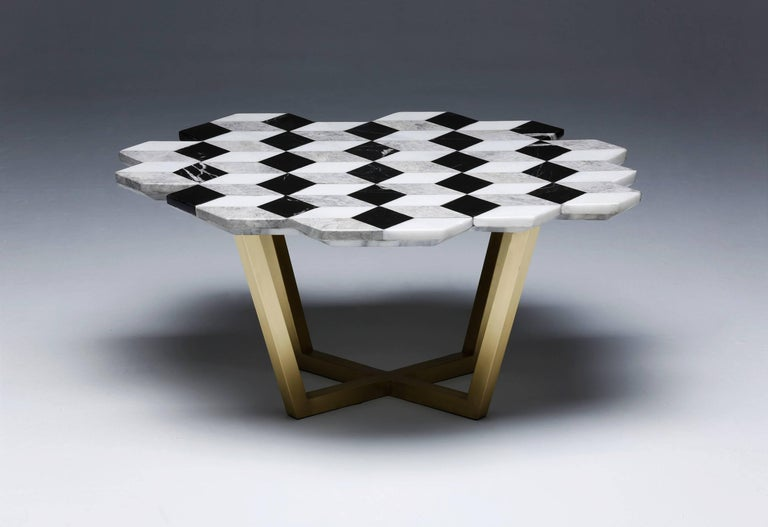 Arts and Crafts 21st Century Diplopia Monochrome Cubic Marble Side Table For Sale