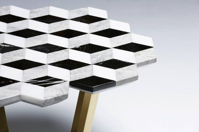 Turkish 21st Century Diplopia Monochrome Cubic Marble Side Table For Sale