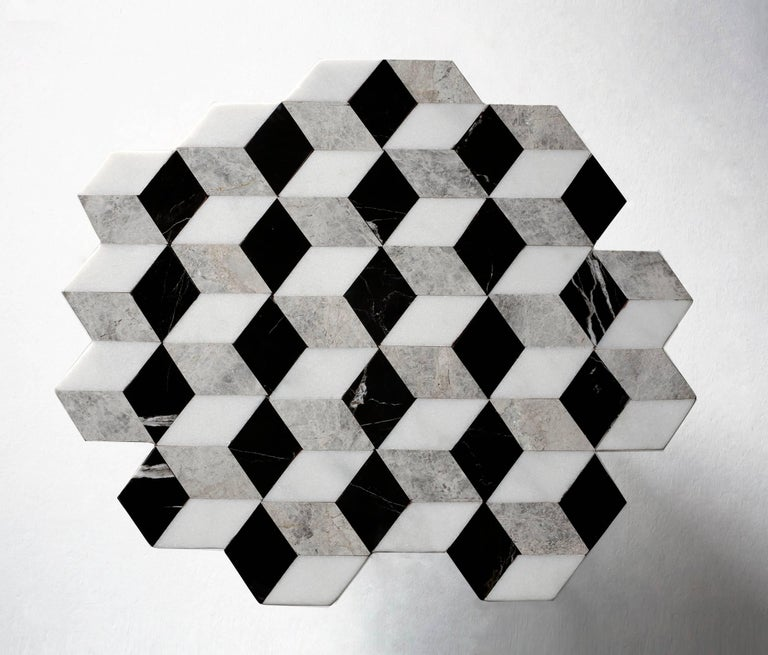 Polished 21st Century Diplopia Monochrome Cubic Marble Side Table For Sale