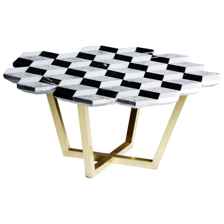21st Century Diplopia Monochrome Cubic Marble Side Table For Sale