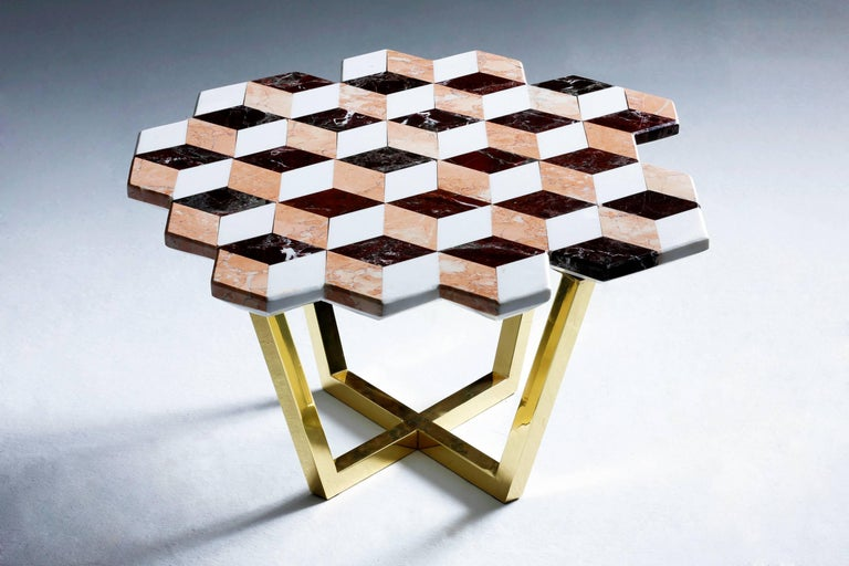 Arts and Crafts 21st Century Diplopia Red Cubic Marble Side Table For Sale