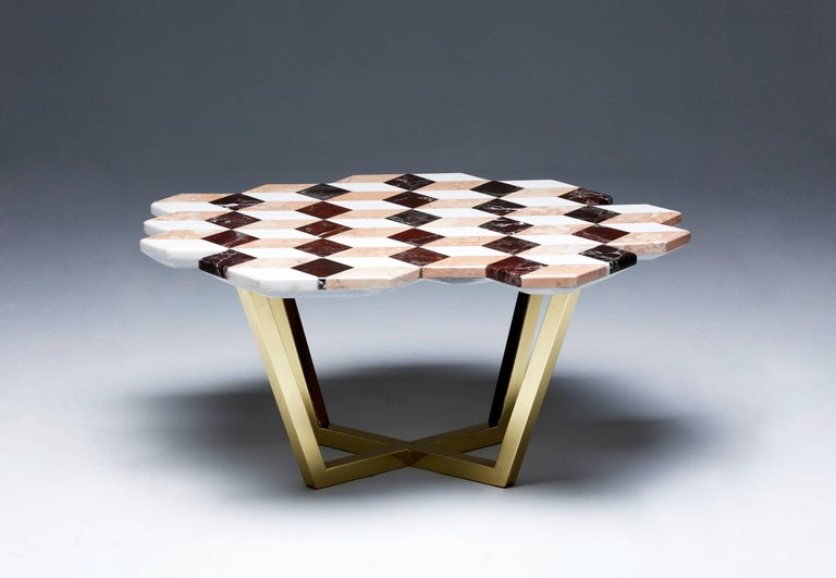 Turkish 21st Century Diplopia Red Cubic Marble Side Table For Sale