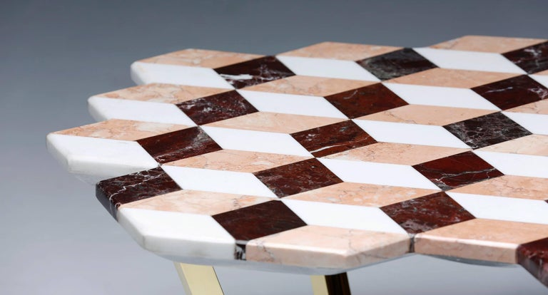 Polished 21st Century Diplopia Red Cubic Marble Side Table For Sale