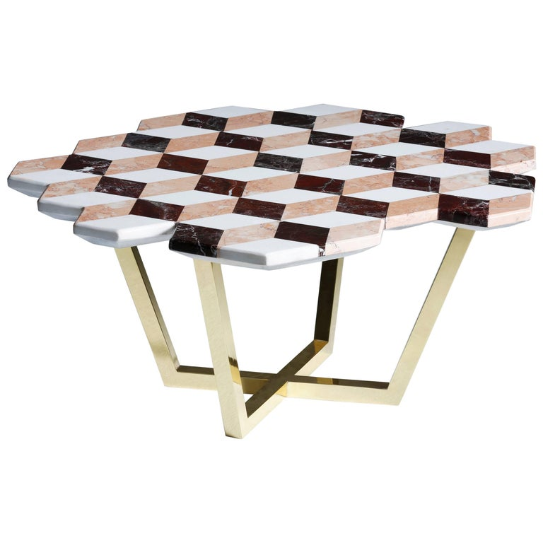21st Century Diplopia Red Cubic Marble Side Table For Sale