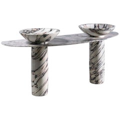 21st Century Double Consolle Marble Bathroom Washbasin by Arch.Mario Bellini