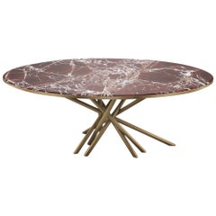 21st Century Duchess Centre Table Rosso Levanto marble Aged Brushed brass