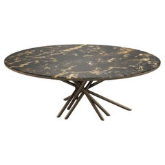 21st Century Duchess Dining Table Black Gold Marble Aged Brushed Brass