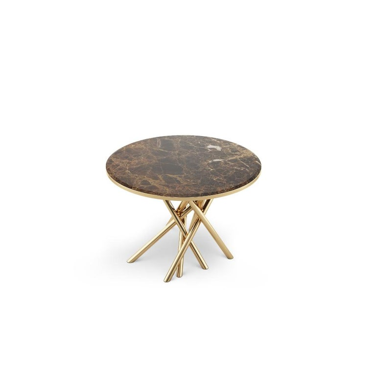 Portuguese 21st Century Duchess Side Table Emperador Marble Polished Brass For Sale