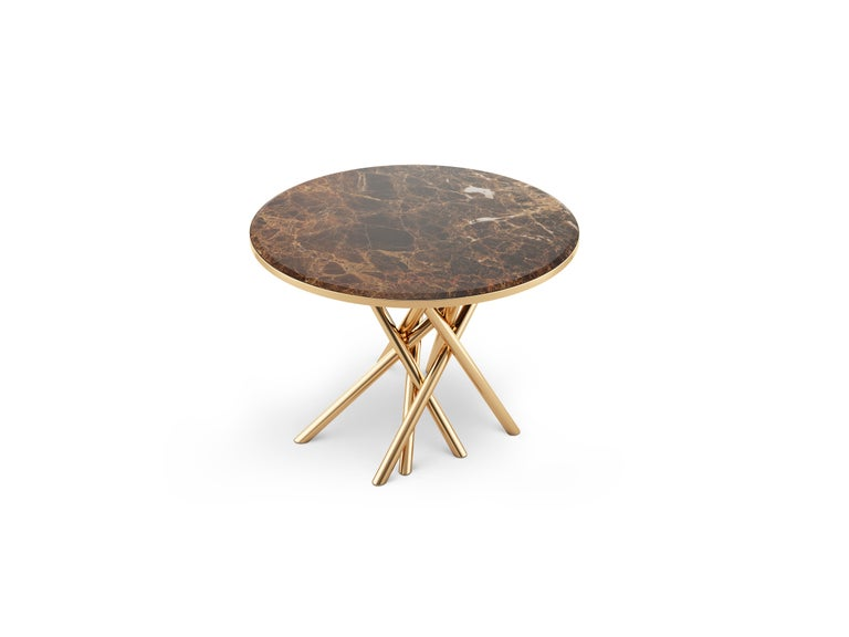 21st Century Duchess Side Table Emperador Marble Polished Brass In New Condition For Sale In RIO TINTO, PT