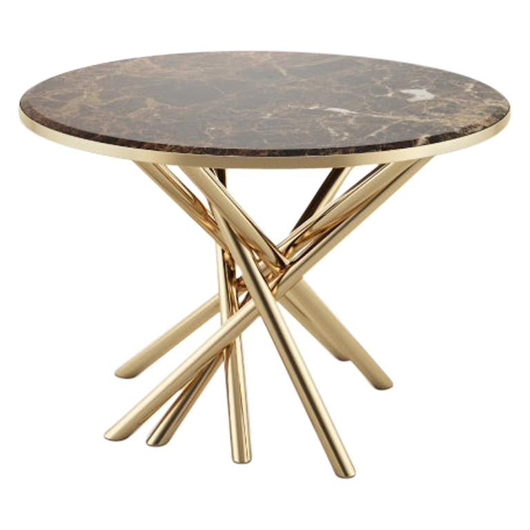 21st Century Duchess Side Table Emperador Marble Polished Brass For Sale