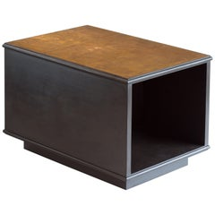 21st Century Ebonized Oak and Patinated Bronze  Modernist Lamp Table / Bookcase