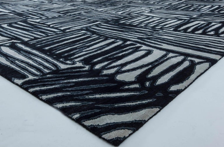 Hand-Knotted 21st Century Ecriture Black & White Handmade Silk & Wool Rug For Sale