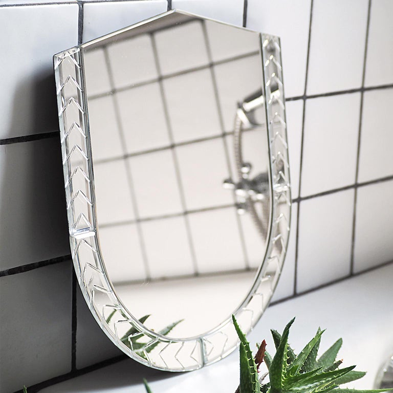 Italian Elemento Due Medium Glass Carved Murano Mirror by Portego For Sale