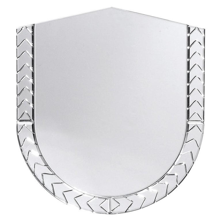 Elemento Due Medium Glass Carved Murano Mirror by Portego For Sale