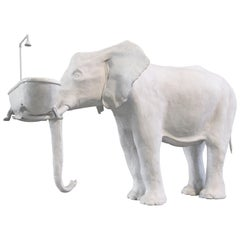 21st Century Elephant with Tub Sculpture by Marcantonio, Painted White Bronze