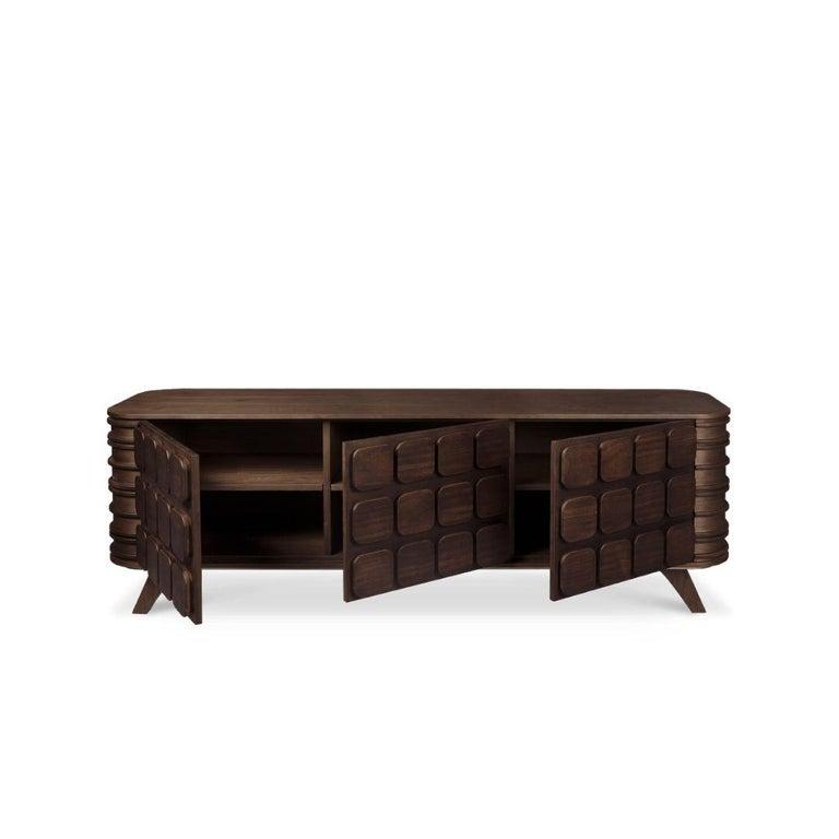 Portuguese 21st Century Elliott Sideboard Walnut Wood For Sale