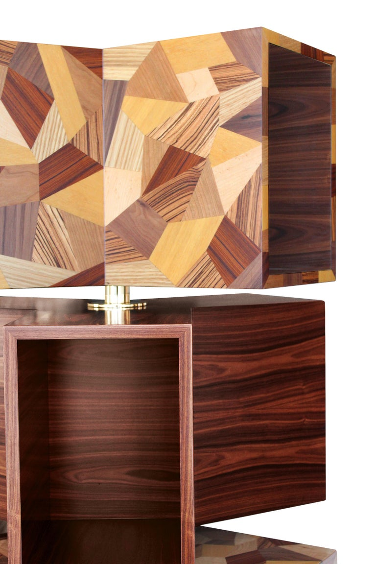 21st Century Emel Bookcase Rosewood Polished Brass In New Condition For Sale In RIO TINTO, PT