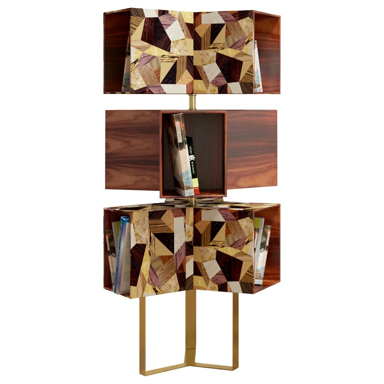 21st Century Emel Bookcase Rosewood Polished Brass For Sale