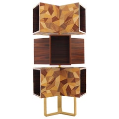 21st Century Emel Bookcase Rosewood Polished Brass