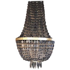 21st Century Empire Style Chandelier with Pendants in Black and Gilt Zinc