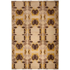 21st Century Eskayel-Culebra Cubic Handmade Wool Rug in Mocha, Beige and Yellow