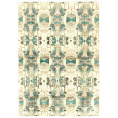 21st Century Eskayel Dynasty Silk Rug in Turquoise, Brown, Beige and Purple