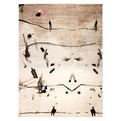 21st Century Eskayel Splatter Wool Rug in Dark Gray and White Shades
