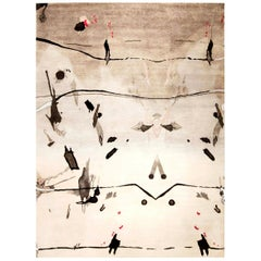 21st Century Eskayel Splatter Wool Rug in Gray, Black and White Shades