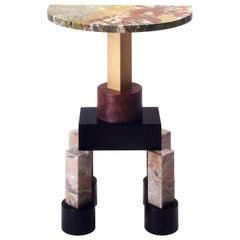 21st Century Ettore Sottsas Demistella Console in Briar, Polichrome Marble, Wood