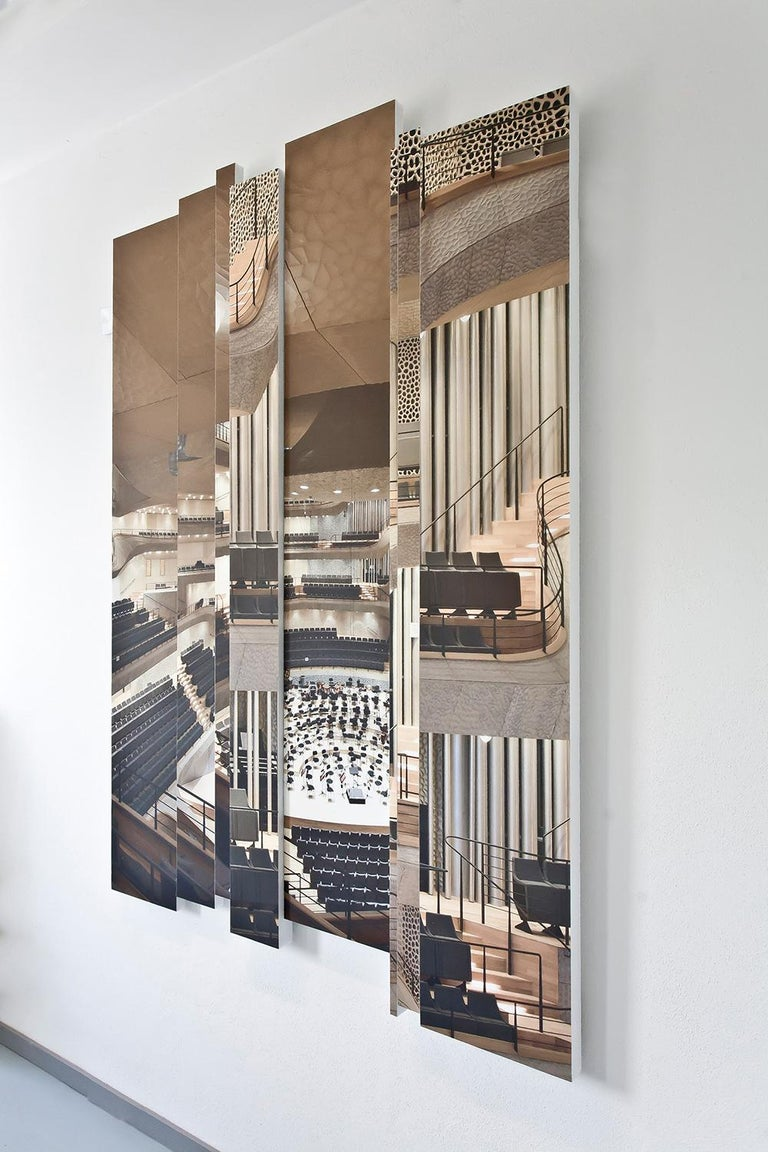 21st century European Azulejos sound absorbing wall mural by Marie Aigner.  This wall mural has also an acoustical effectiveness and hereby melts 2 functions with design. The elemental parts are cutout of panels produced out of 100% recycled