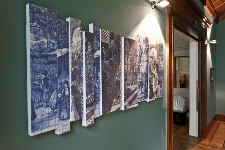 Contemporary 21st Century European Azulejos Sound Absorbing Wall Mural by Marie Aigner For Sale