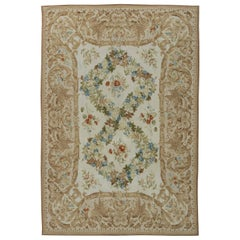21st Century European Inspired Bassarabian Beige and White Handmade Wool Rug