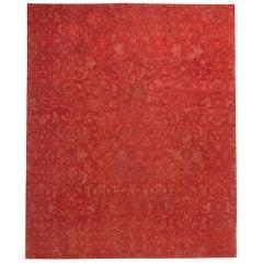 21st Century European Inspired Red Tibetan Handmade Wool Rug
