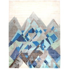 21st Century Everest Design Hand Knotted Silk Rug in White, Blue and Gray