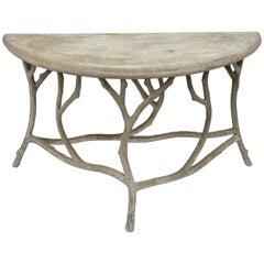 21st Century Faux Bois Concrete Twig Demi Lune Console Table