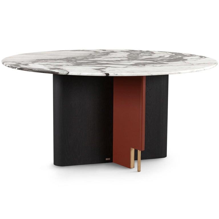 Modern Ferreirinha 8-Seat Round Dining Table Calacatta Black Veins Leather American Oak For Sale