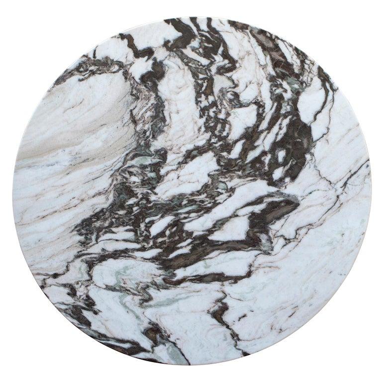 Contemporary Ferreirinha 8-Seat Round Dining Table Calacatta Black Veins Leather American Oak For Sale