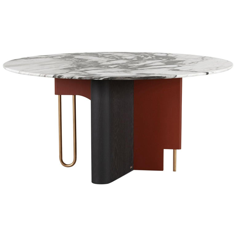 Ferreirinha 8-Seat Round Dining Table Calacatta Black Veins Leather American Oak For Sale