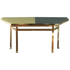 21st Century Filippo Feroldi Brass Console Table Glass Top Various Colors