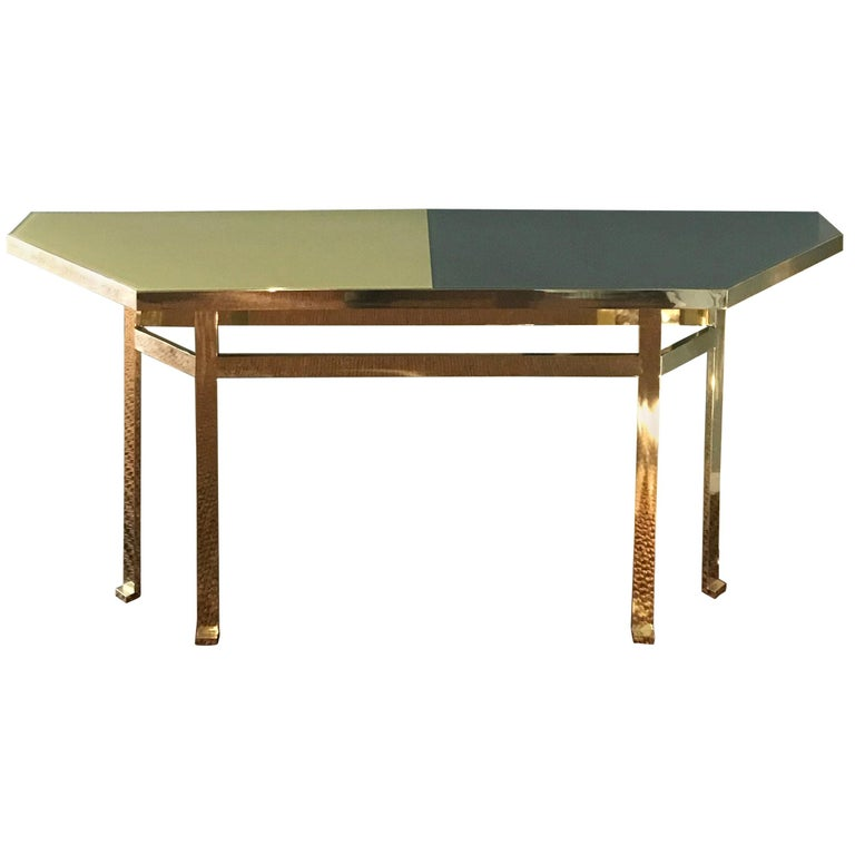 21st Century Filippo Feroldi Brass Console Table Glass Top Various Colors For Sale