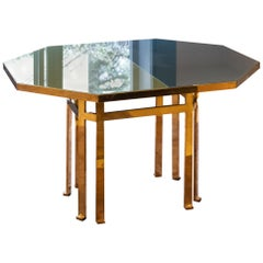 21st Century Filippo Feroldi Brass Table 130 Glass Top Various Colors
