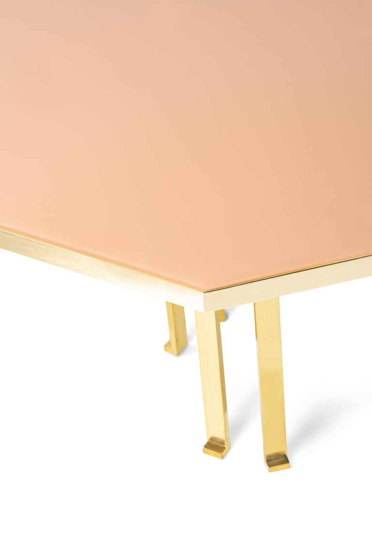21st Century Filippo Feroldi Brass Table 280 Glass Top Various Colors For Sale 3